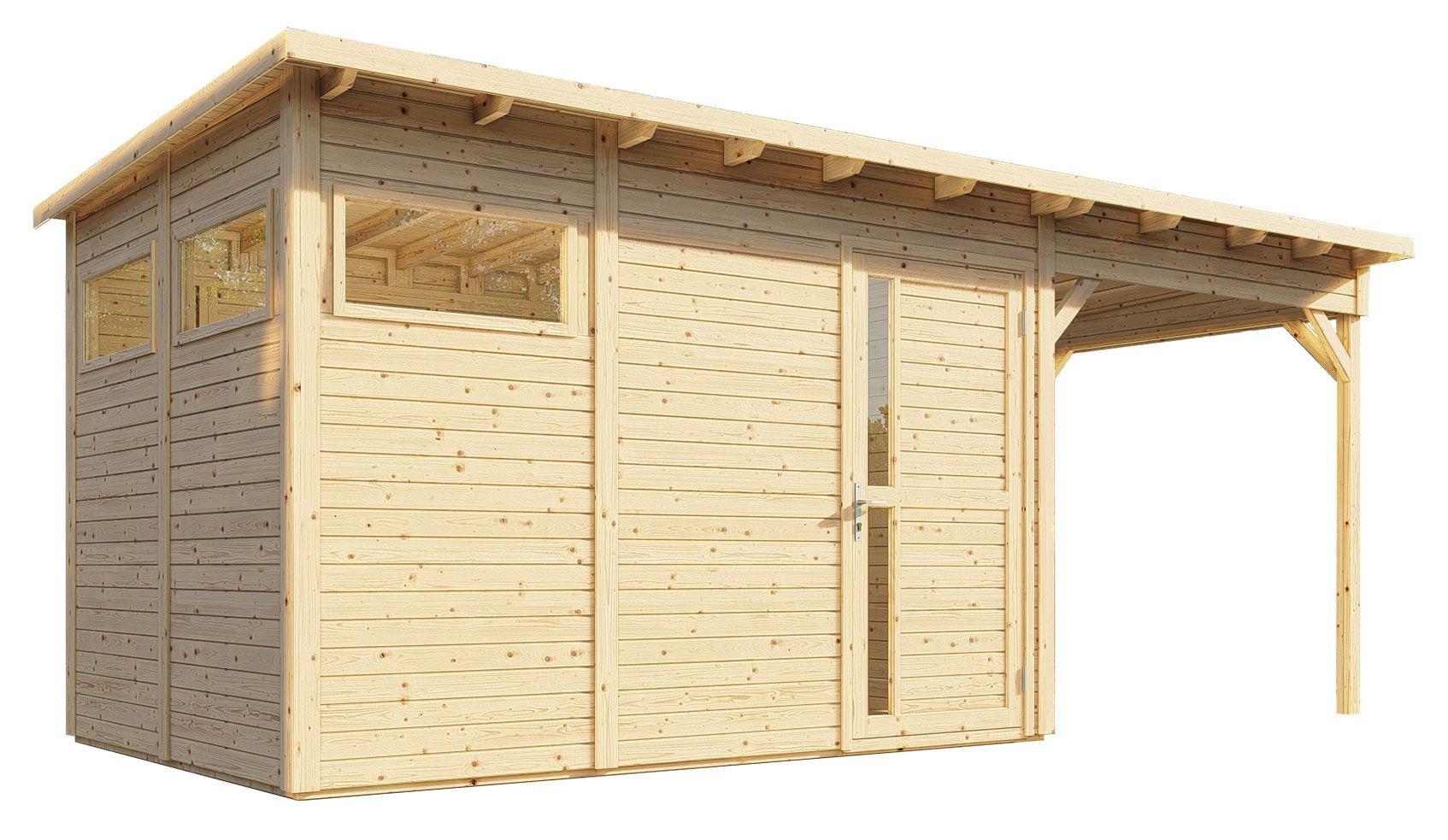 tuinhuis Kiel 03 met uitbouw dak incl. vloer en dakleer vilt, onbehandeld - 19 mm element tuinhuis, bruikbare oppervlakte: 7,70 m², plat dak