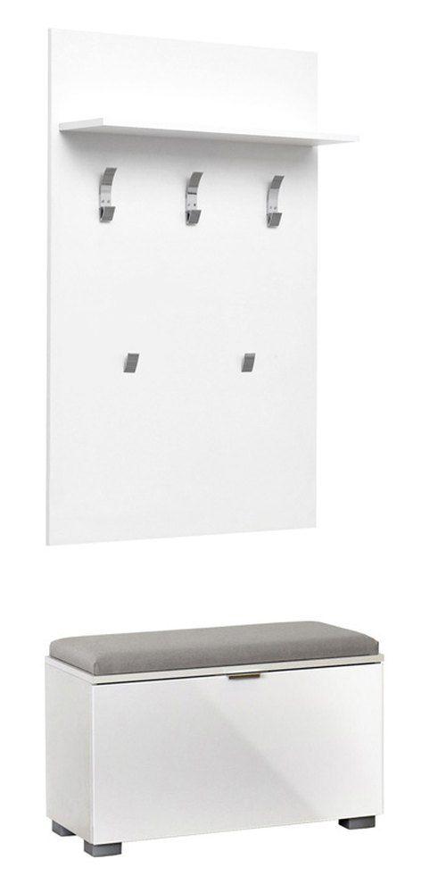 garderobe / kapstok met bankje Sabadell 04, kleur: wit / wit hoogglans - 209 x 80 x 38 cm (h x b x d)
