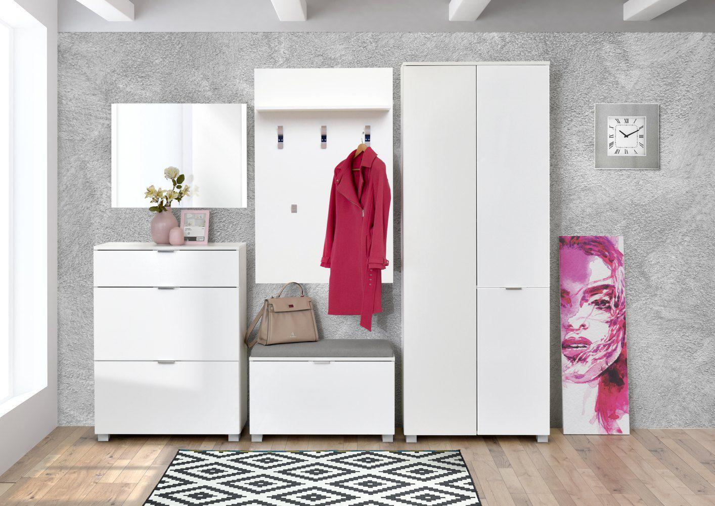 Garderobe Kapstok compleet - Set C Sabadell, 4-delig, kleur: wit / wit hoogglans