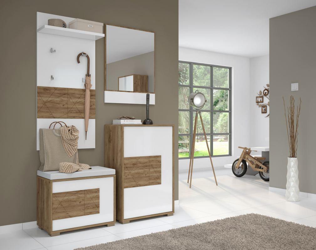 Garderobe / kapstok compleet - Set D Manase, 4-delig, kleur: eiken bruin / wit hoogglans