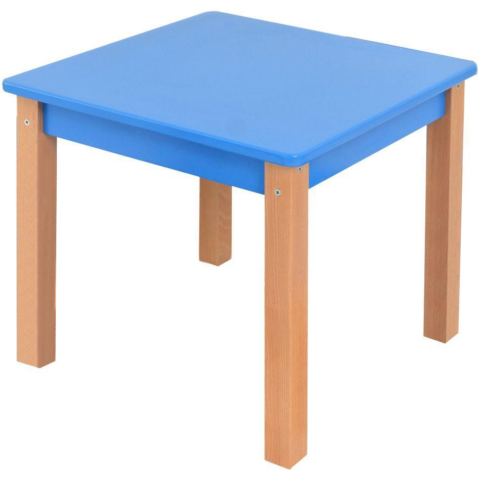 Kindertafel Laurenz Beuken massief hout naturel / blauw - Afmetingen: 47 x 50 x 50 cm (H x B x D)