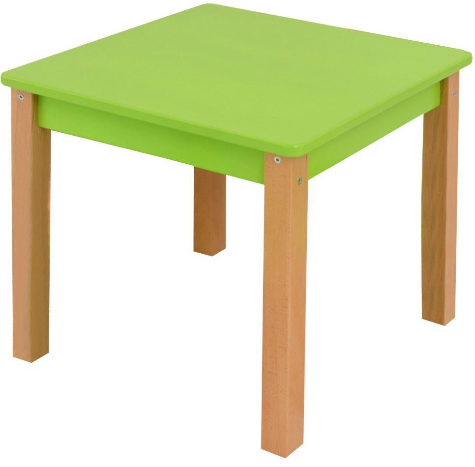 Kindertafel Laurenz Beuken massief hout naturel / groen - Afmetingen: 47 x 50 x 50 cm (H x B x D)