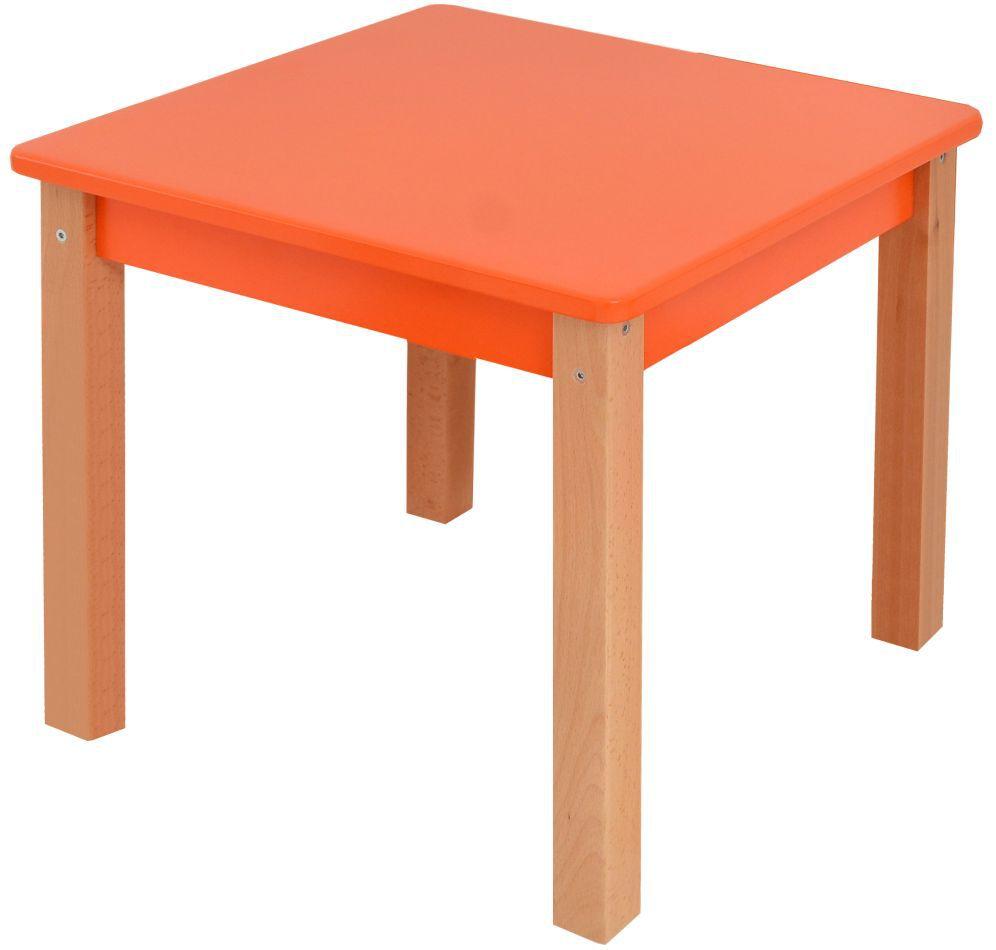 Kindertafel Laurenz Beuken massief hout naturel / oranje - Afmetingen: 47 x 50 x 50 cm (H x B x D)