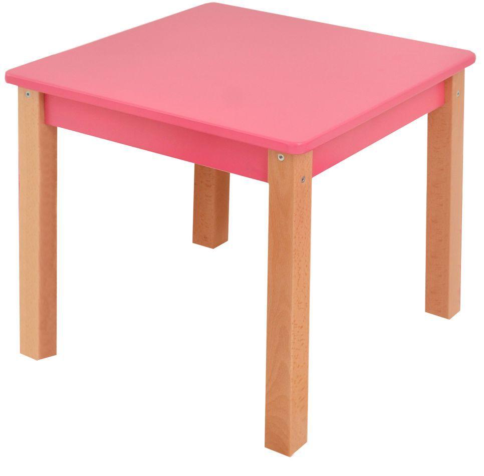 Kindertafel Laurenz Beuken massief hout naturel / roze - Afmetingen: 47 x 50 x 50 cm (H x B x D)