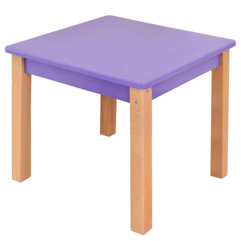 Kindertafel Laurenz Beuken massief hout naturel / paars - Afmetingen: 47 x 50 x 50 cm (H x B x D)