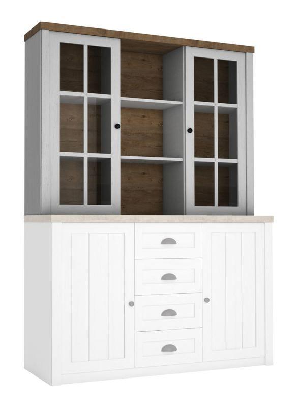 opzetkast (vitrine) voor Segnas dressoir / ladenkast, kleur: wit grenen / eiken bruin - 111 x 130 x 35 cm (h x b x d)