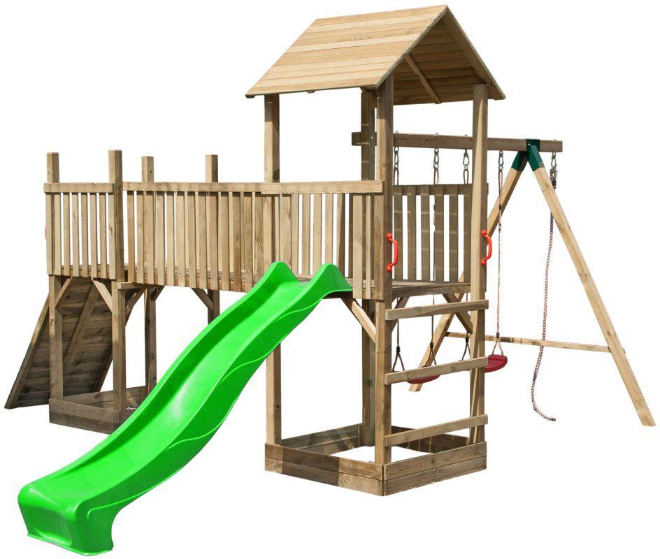 """Speeltoren met glijbaan, dubbele schommel en klimwand """"Wild Park"""