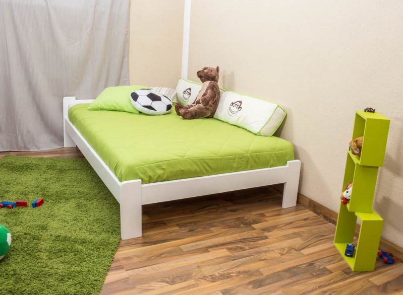 Futonbed / , vol hout, bed massief grenen wit gelakt A8, incl. lattenbodem - afmetingen: 120 x 200 cm