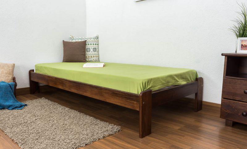 Futonbed / , vol hout, bed massief grenen kleur walnoten  A10, incl. lattenbodem - afmetingen 90 x 200 cm