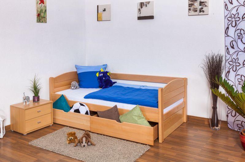 """Kinderbed / Jeugdbed """"Easy Premium Line"""" K1/s Voll incl. 2 lades en 2 afdekplaten, 90 x 200 cm massief beukenhout naturel"""