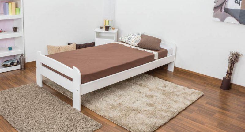 eenpersoonsbed / logeerbed massief grenenhout, wit gelakt A11, incl. lattenbodem - afmetingen 90 x 200 cm